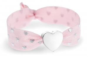 personalised pink & silver hearts bracelet with silver heart bead