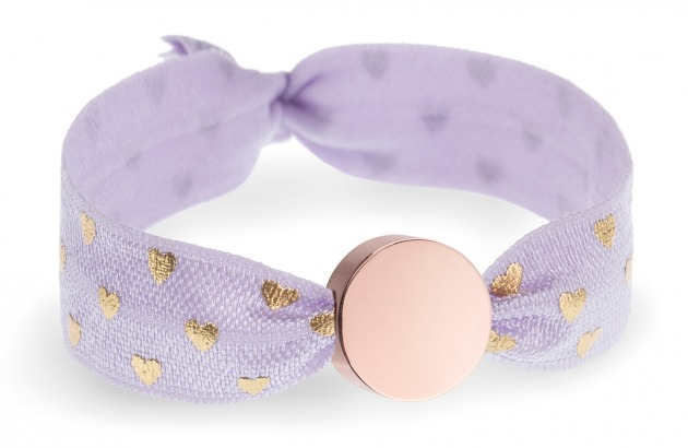 personalised girls lavender and gold hearts bracelet with rose gold circle bead