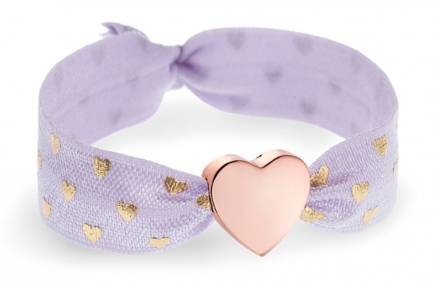 personalised lilac purple & gold hearts bracelet with rose gold heart bead