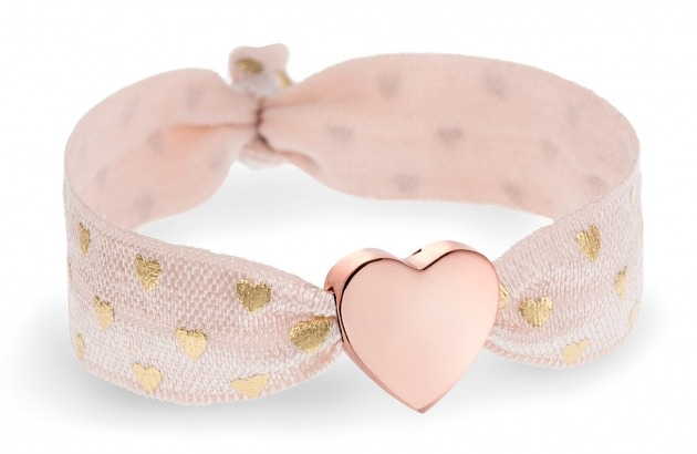 personalised blush pink & gold hearts bracelet with rose gold heart bead