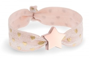 personalised girls tea rose pink and gold hearts bracelet with rose gold star bead