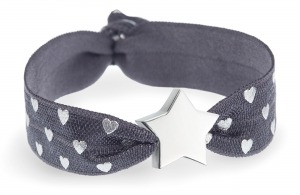 personalised charcoal grey & silver hearts bracelet with silver star bead