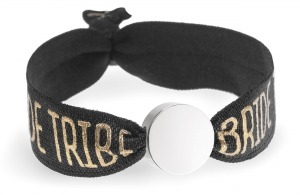 personalised bride tribe black bracelet with silver circle bead