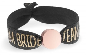 personalised team bride black and gold bracelet with rose gold circle bead