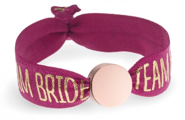 personalised team bride berry red bracelet with rose gold circle bead