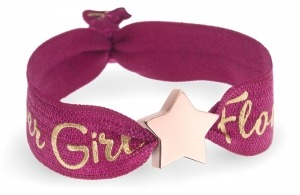 personalised girls flower girl berry red bracelet with rose gold star bead