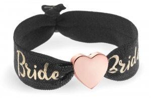 personalised Bride black & gold bracelet with rose gold heart bead