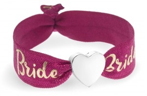 personalised Bride berry red & gold bracelet with silver heart bead