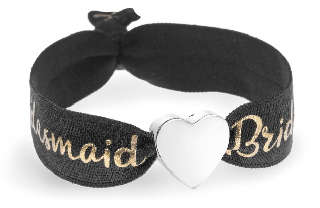 personalised bridesmaid black & gold bracelet with silver heart bead