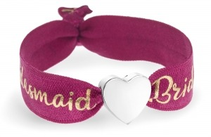 personalised bridesmaid berry red and gold bracelet with silver heart bead