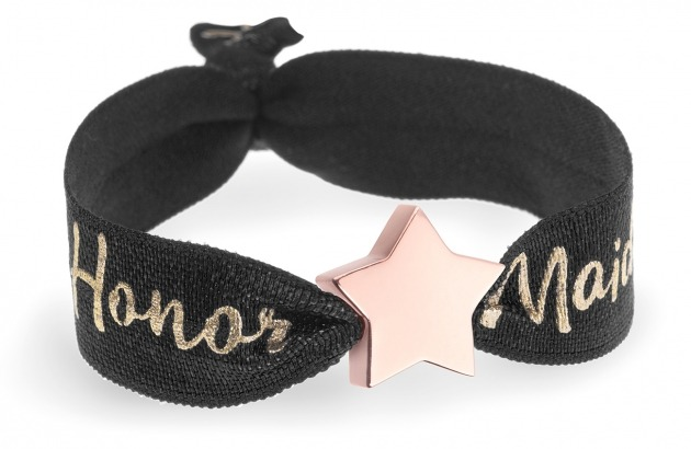 personalised maid of honor black bracelet with rose gold star bead