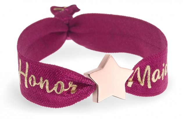 personalised maid of honor berry red bracelet with rose gold star bead