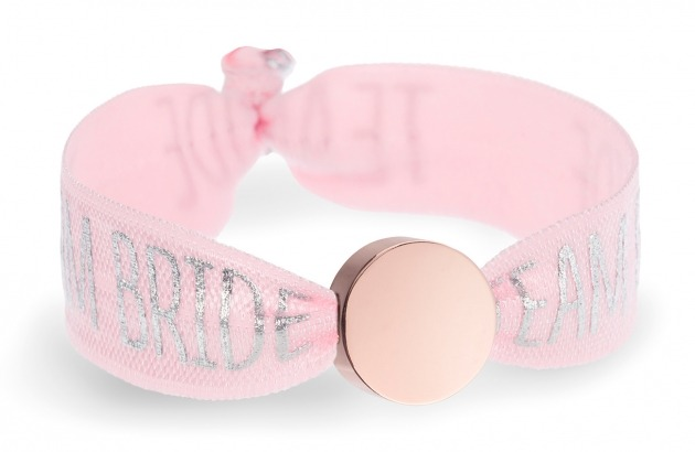 personalised team bride pink bracelet with rose gold circle bead