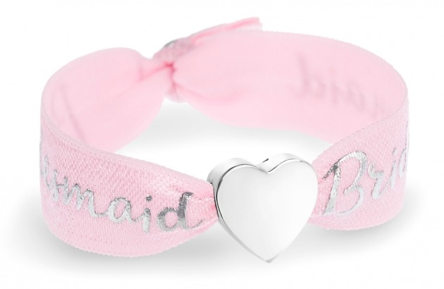 bridesmaid pink bracelet with silver heart bead