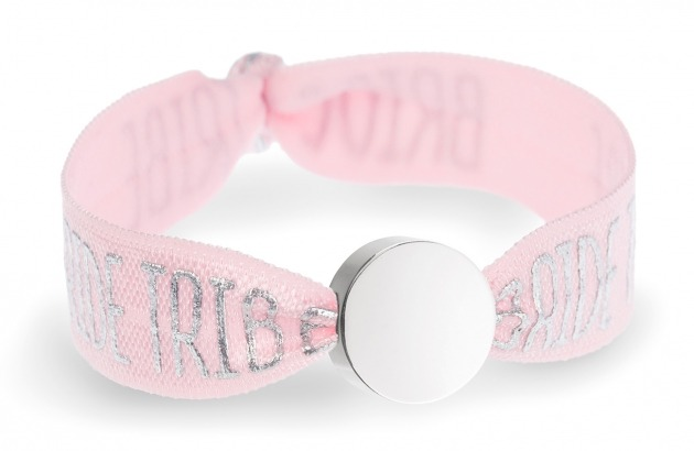 bride tribe pink bracelet with silver circle bead
