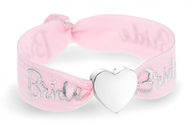 personalised bride pink & silver bracelet with silver heart bead
