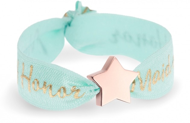 personalised maid of honor mint bracelet with rose gold star bead