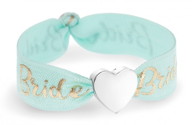 personalised bride mint green & gold bracelet with silver heart bead