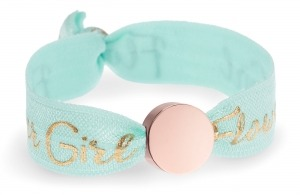 personalised girls flower girl soft mint bracelet with rose gold circle bead