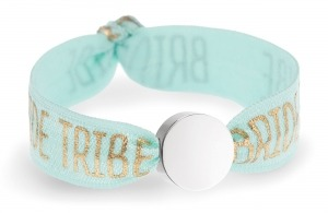 personalised bride tribe mint bracelet with silver circle bead