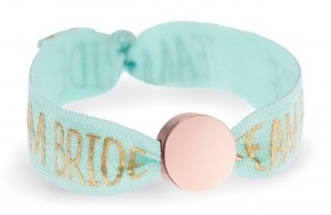 personalised Team Bride mint bracelet with rose gold circle bead