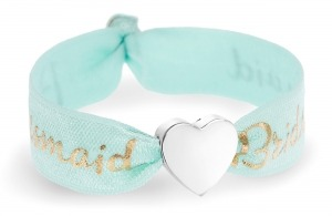 personalised bridesmaid mint green and gold bracelet with silver heart bead