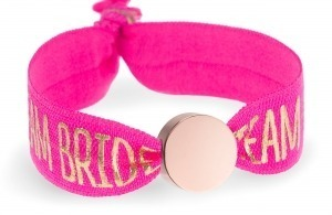 personalised team bride hot pink bracelet with rose gold circle bead