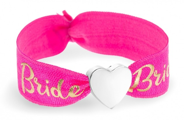 personalised bride hot pink & gold bracelet with silver heart bead