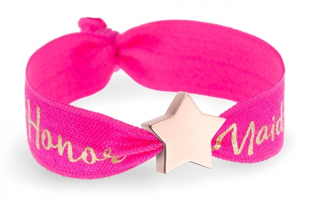 personalised maid of honor hot pink bracelet with rose gold star bead