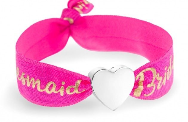 Bridesmaid hot pink bracelet with silver heart bead