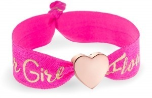 personalised girls flower girl hot pink bracelet with rose gold heart bead