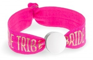 personalised bride tribe hot pink bracelet with silver circle bead