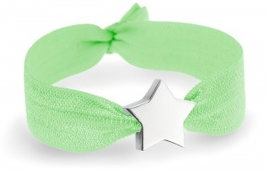 Personalised Neon green bracelet with silver star bead
