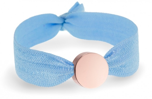 personalised girls soft blue bracelet with rose gold circle bead