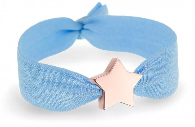 something blue soft blue bracelet with rose gold star bead