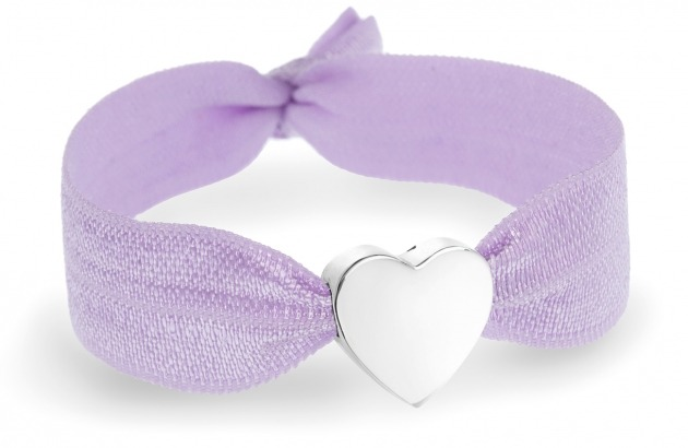 personalised lavender stretch bracelet with silver heart