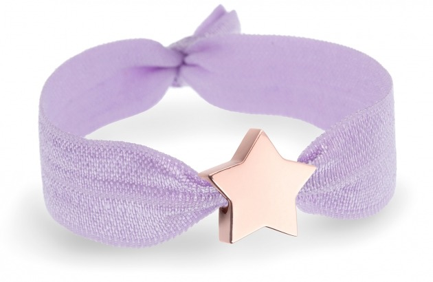 girls lavender bracelet with rose gold star bead