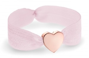 personalised girls soft pink bracelet with rose gold heart bead