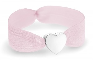 soft pink bracelet with silver heart charm