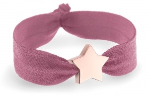 personalised girls dusky pink bracelet with rose gold star bead