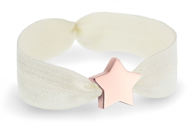 personalised girls ivory bracelet with rose gold star bead