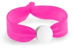 Neon pink bracelet with silver circle bead