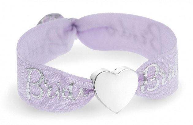personalised Bride lilac purple & silver bracelet with silver heart bead