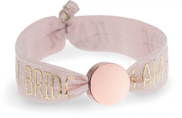 personalised team bride tea rose pink bracelet with rose gold circle bead