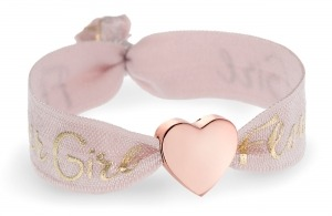 personalised girls flower girl tea rose pink bracelet with rose gold heart bead