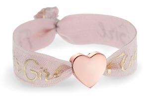 personalised girls flower girl tea rose pink bracelet with rose gold heart bead