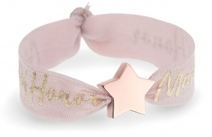 personalised maid of honor tea rose pink bracelet with rose gold star bead