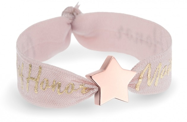 maid of honor tea rose bracelet with rose gold star bead