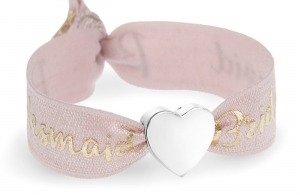 personalised bridesmaid blush pink and gold bracelet with silver heart bead