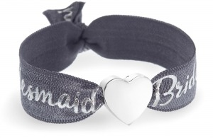 personalised bridesmaid grey and silver bracelet with silver heart bead